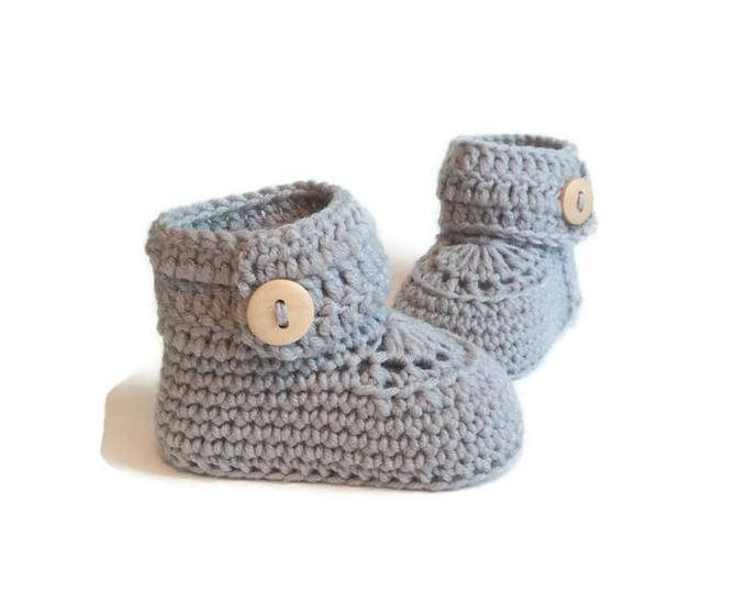 Featured listing image: Gray Crochet Baby Booties Merino Wool Newborn Crib Shoes Baby Slippers Knitted Baby Booties Gender Neutral Baby Gift Warm and Woolly Etsy