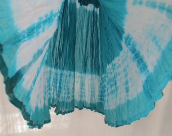 Turquoise Tie Dye Maxi Skirt Cotton Gauze Shibori Dyed Long Vintage Hippie Boho Festival Resort Skirt Size Small Summer Skirt