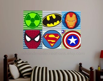 Super Heroes re usable fabric Wall Decal Fabric Personalized Initial Name  Wall Decal perfect decoration for nursery or playroom