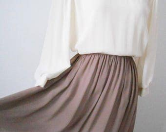 Vintage Leslie Fay Sheer Full Length Dress with Long Sleeves Size L