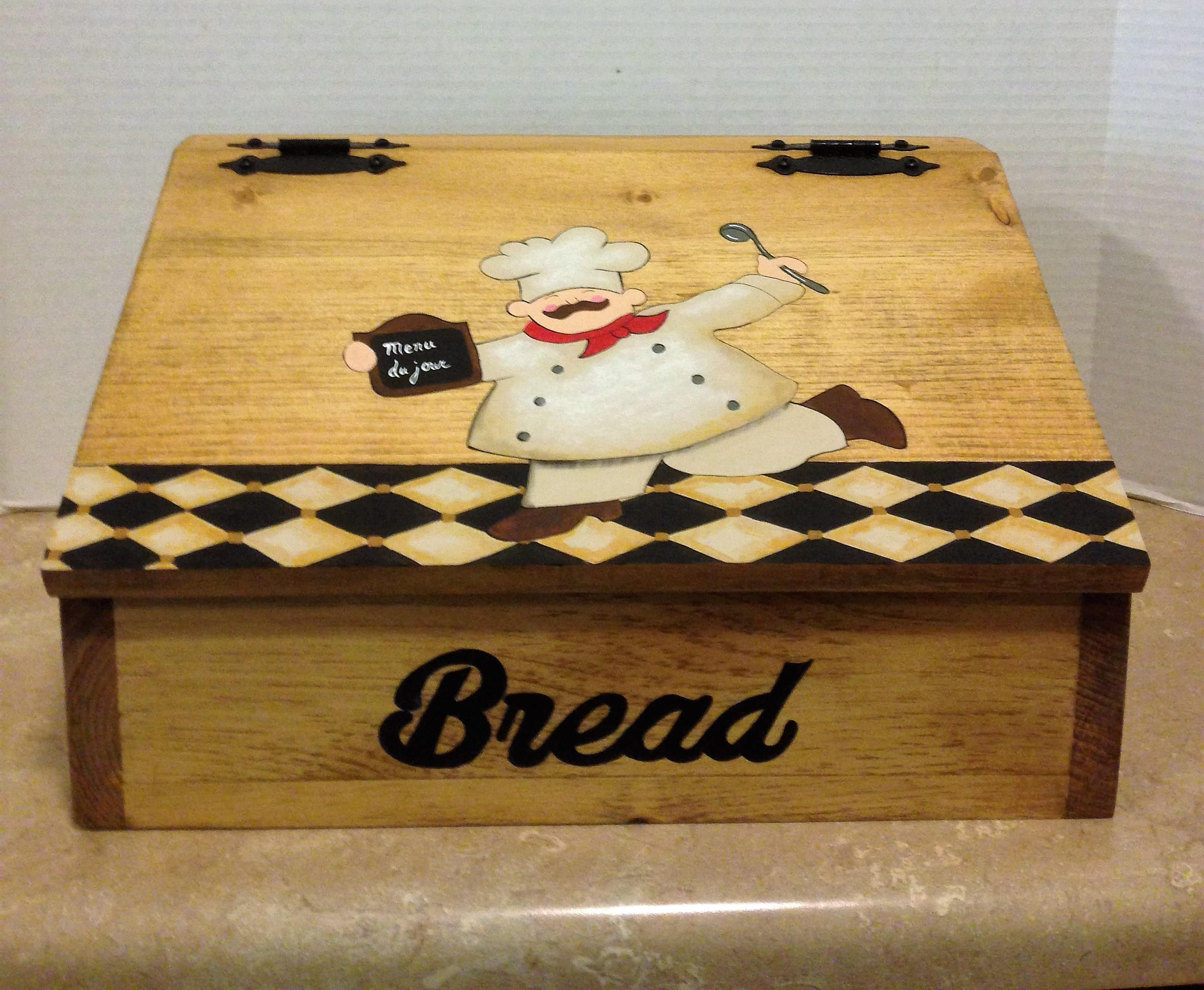 Bread Box Wooden Bread Box Chef Decor Chef Kitchen Decor