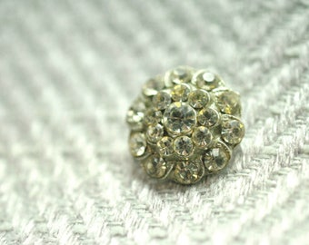 Silver Rhinestone Button, Rhinestone Button, Round Button, Crystal Button, Shank Button, Rhinestone Cluster,