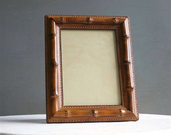Vintage Gucci Picture Frame - Leather and Bamboo - British Tan Italian 1960s Desk Accessory Office Decor - 5 x 7 Designer Photo Frame