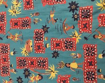 Vintage 1950's Tiki Fabric