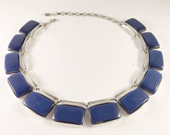 Blue Lisner Lucite Necklace, Vintage Jewelry, Lisner Jewelry, Blue Necklace, Lisner Choker, Lucite Jewelry, Retro Thermoset Vintage Necklace