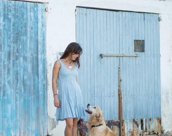 linen dress/short blue dress/pale blue dress/blue summer dress/casual beach wedding/sundress