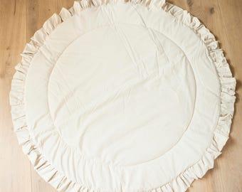 Ruffled baby playmat, a padded teepee pad, playing mat, teepee playmat, round rug, nursery rug, floor rug