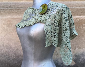 Vintage OOAK Capelet Hand Dyed in a Soft Sage Green with a Handmade Button