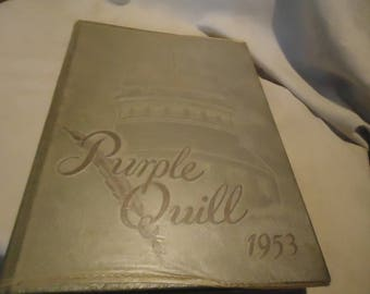 Vintage 1953 Purple Quill Ball High School Yearbook or Annual, Galveston Texas, collectable
