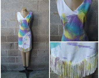 Clear Out Sale 1970s Sleeveless Dress, Burning Man, Polyester, Fringe, Painted Print, Size Medium, #44524