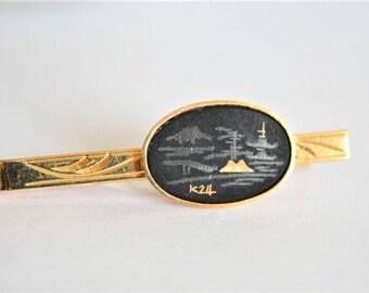 Vintage Damascene tie clip. Japanese tie clip. Mount Fuji tie bar.  Black and gold tie clip