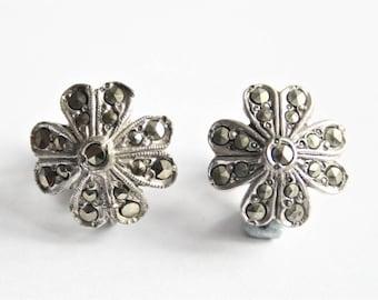 Marcasite earrings. Flower earrings. Screw back earrings. Vintage earrings
