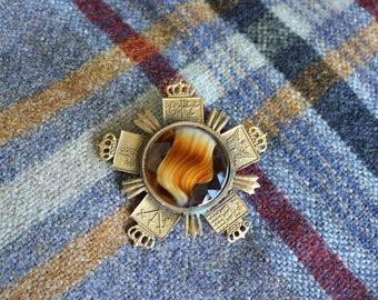 Vintage Scottish Kilt Agate Brooch Pin   SALE - was 38.00