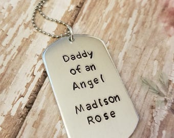 Personalized Dog Tag Key Chain or Necklace for Dad, Uncle, Brother, Teacher / Bright Polished Aluminum and Stainless Steel Chain