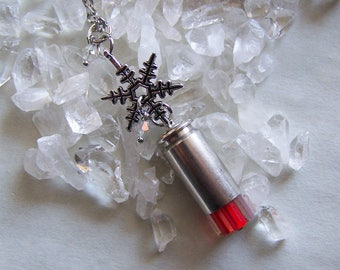 Red Candy Cane Silver Snowflake Bullet Pendant