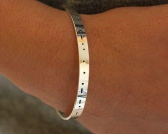 Custom Morse Code Bracelet, Best Friend Gift, Personalized Name Morse Code Bracelet, Name Bracelet, Custom Date, Family Bracelet, BFF gift