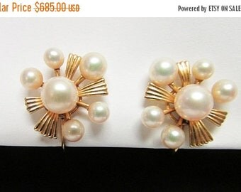 On Sale Vintage Estate Mid Century Modernist Mikimoto 14K  12 High Luster Pearl Earrings