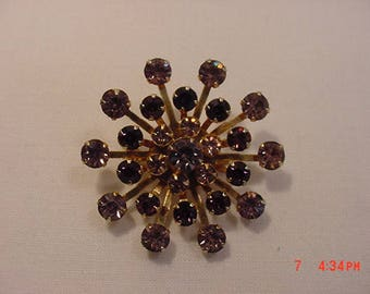 Vintage Purple Rhinestone Brooch  17 - 776