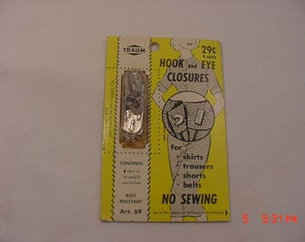 Vintage Package Of 4 Hook And Eye Closures For Shirts - Trousers -  Shorts - Belts - No Sewing  18 - 37