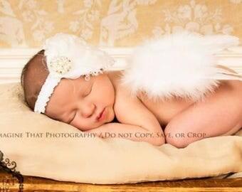 Newborn White Feather Wings - Baby Girl Angel Wings White Rose Feather Wings White Feather Fascinator headband