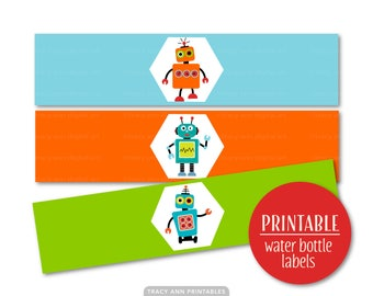 Robot Printable Water Bottle Wraps, Robot Party Decor, Boy Birthday, Paper ribbons Printable Party,Instant Download 1122
