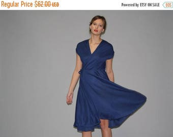 On SALE 35% Off - Vintage 1970s Navy Blue Wrap Dress  -  70s Wrap Dress  -  1970s Navy Dresses   - WD0649