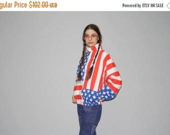 On SALE 35% Off - Vintage American Flag Bomber Jacket - 90s USA Jacket - Vintage Flag Jacket  - WO0602