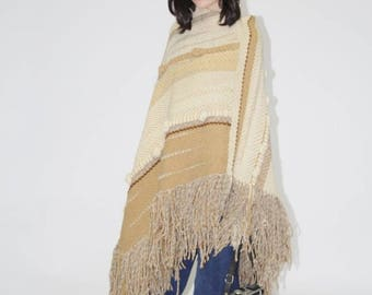 On SALE 35% Off - Vintage 1960s Woven Poncho - Vintage 60s  Poncho - The Freedom  Poncho - WO0142