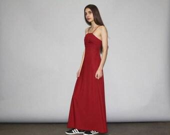 On SALE 35% Off - Vintage 1970s Merlot Maxi Dress - Vintage 70s Garnet Red Maxi Dress  - 70s Disco Dress  - WD0813