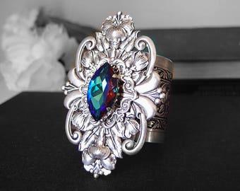 Indigo-- 2 inch Aged silver brass Victorian Swarovski crystal bracelet cuff , Adjustable G004
