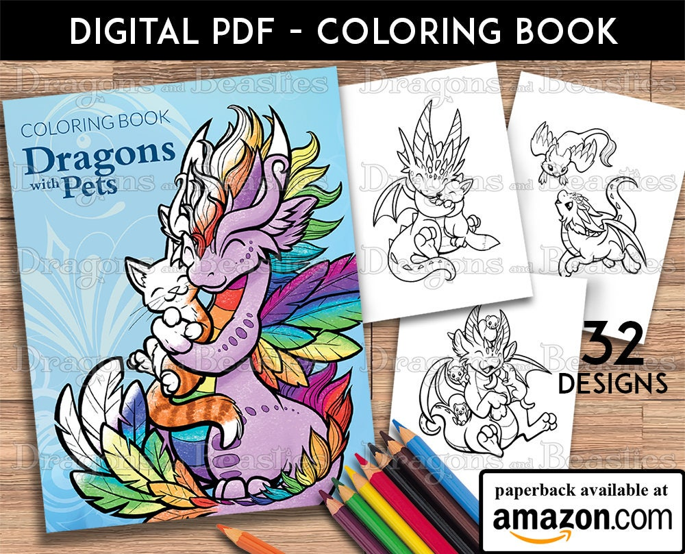 Dragons With Pets Coloring Book Kids Adult Pages