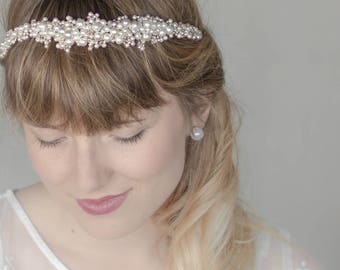 Pearl headband, Pearl Bridal hair vine, Pearl wedding headband, Bridal headband, Bridal halo, Pearl hair vine, Bridal hair accessories