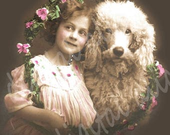 Printable Download GIRL w POODLE  POSTCARD Reproduction - Colored Victorian Print Poster - 5 X 7...Shabby Chic Charm
