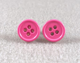 Earrings, button earrings, stud earrings, bright pink button earrings