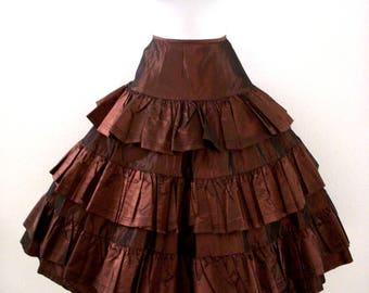 Vintage 80s Betsey Johnson Brown Taffeta Skirt - 80s Red Label Betsey Johnson Iridescent Bronze Taffeta Tea Length Skirt - Size Small 2 - 4
