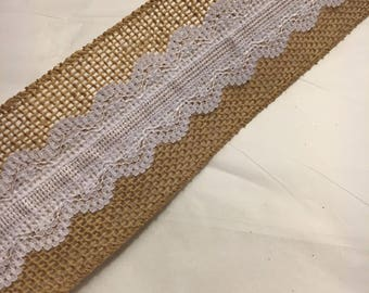 Rustic burlap with white lace center wired ribbon 2.5inches wide 25 ft. long