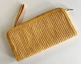 vintage straw clutch - WHEAT woven bag
