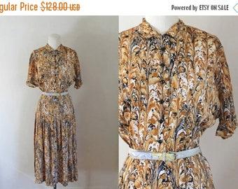 AWAY SALE 20% off vintage 1940s/50s L'Aiglon dress - Marbling shirtwaist dress / S/M