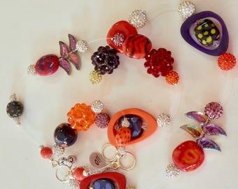 "Artisan OOAK 34"" Collage Necklace -Purple and Pink African Ceramic Kazuri Beads- -Crystal Clusters -Fabulous -Iris Apfel Inspired- RUNWAY"