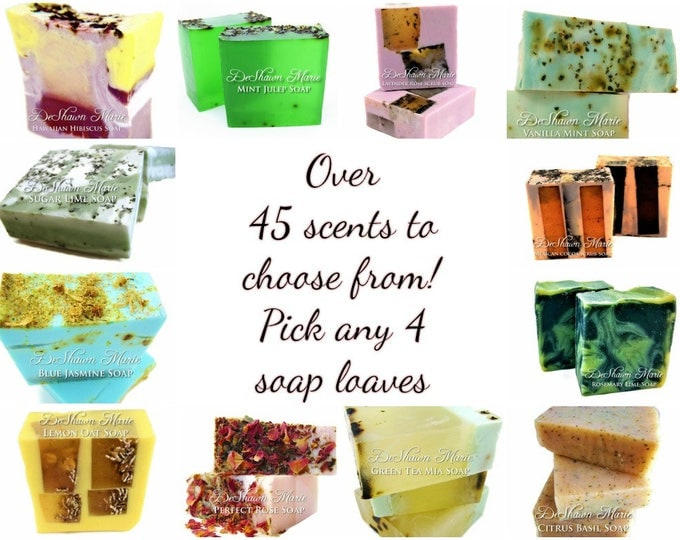 SOAP - 4 assorted 3LB Handmade Soap Loaves, Wholesale Soap Loaves, Vegan Soap, Soap Gifts, Wedding favors, Shower Favors, Christmas Gifts