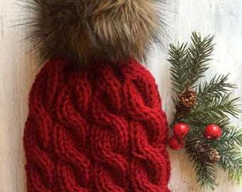 WOMEN'S Chunky Knitted Cable Hat With LARGE Faux Fur Pom Pom - Chunky Knitted Hat - Hand Knitted Cable Hat -Faux Pom Pom - Women's Hats