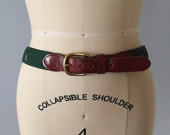 bird print leather belt | chestnut leather hip belt | made in England belt