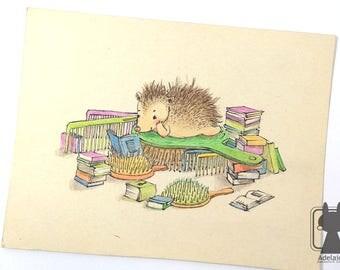 Small hedgehog illustration - hedgehog art - original artwork watercolors and pencils - nursery decor - childrens art