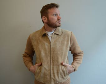 Vintage Tan Knit and Leather Jacket by The mens Store