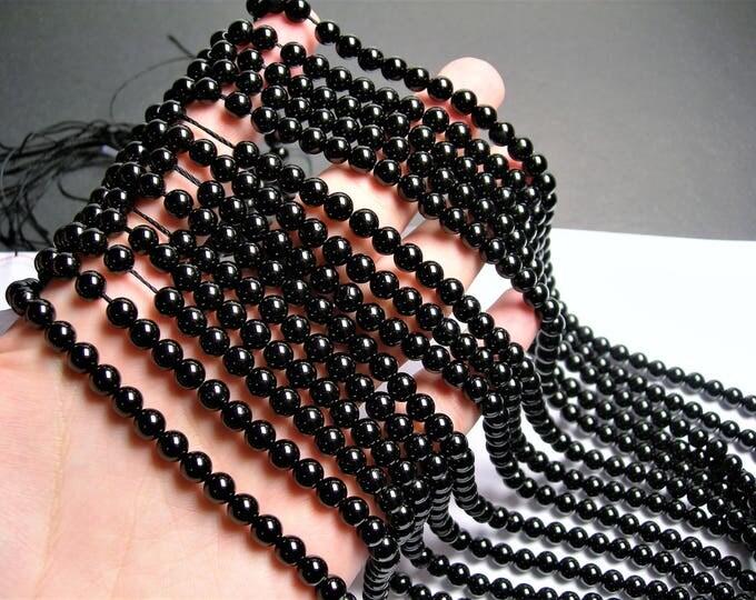 Black tourmaline - 6mm round beads -1 full strand - 66 beads - AA Quality - RFG851