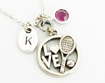 I love tennis necklace with initial and birthstone-Tennis initial necklace gift for her-Tennis racket for tennis player gift-Sports Jewelry