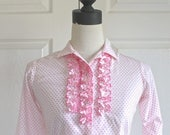 50% OFF SALE 1960s Cowgirl Shirt . Vintage 60s 70s MILLER Pink Polka Dot & Ruffles Western Shirt . Cowgirl Fair Rodeo Shirt . Extra Small