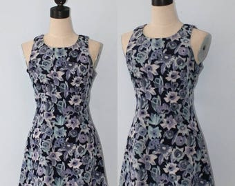 50% OFF SALE Vintage blue floral MINI dress . All That Jazz floral print * sundress . sleeveless short baby doll summer dress . size small