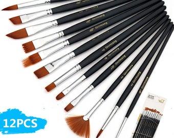 Artist Brushes, 12 Paint Brushes Set Nylon Hair, Gift for Artist, oil painting Brushes, watercolor paintbrush, https://1supply.etsy.com