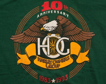 Harley-Davidson HOG 10th Anniversary T-Shirt, 1993 Owners Group, Vintage 90s, Motorcycles, Biker Graphic Tee, M/L, Milwaukee Wisconsin